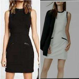 Black Express Leather Trim Shift Dress